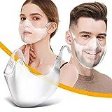 2 Piezas Protector Facial Trasparente para Boca y Nariz, Duradera, Lavable y Reutilizable