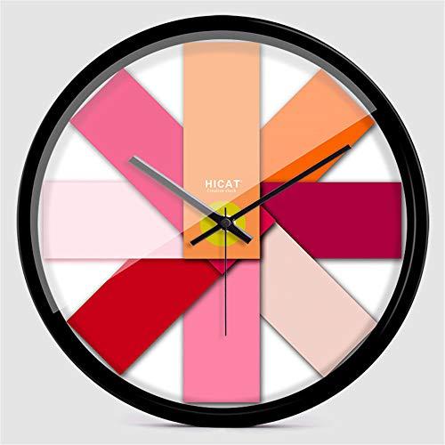 QioJu-CLOCKS Kreative Uhr, Blau Verlaufende Wanduhr, Europäische Quarzuhr, Metallrahmen, E, 12 Zoll