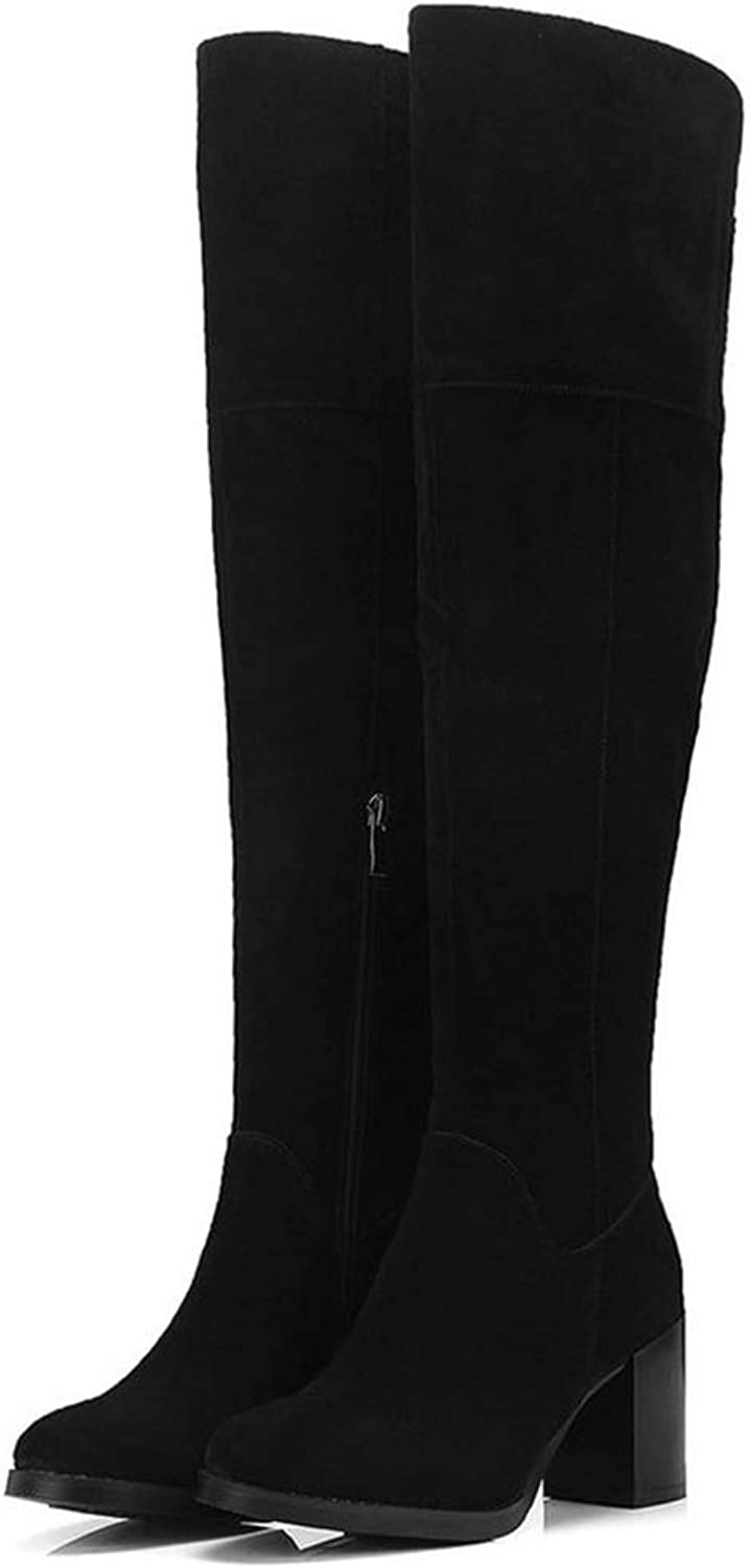 T-JULY Women Over The Knee High Boots Platform Sexy Square Toe Elegant Winter Casual Zipper Boot Ladies Motorcycle Booties