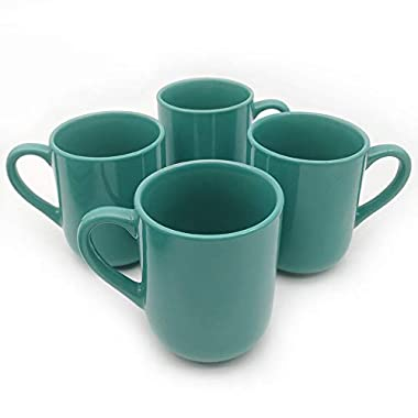 CeramicHome 12oz Dinnerware Mugs (set of 4), Stoneware Dinnerware Color Glaze (Teal Blue)