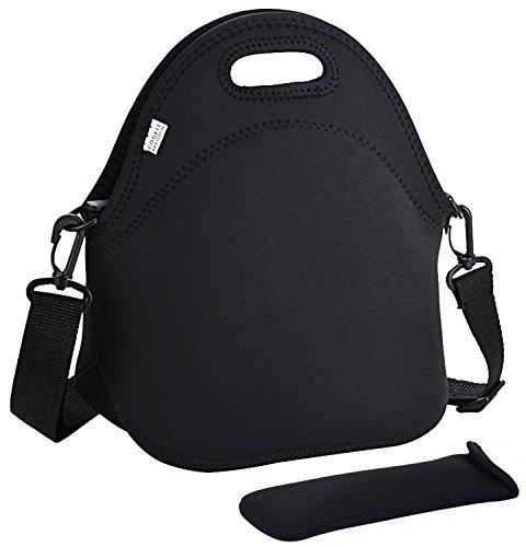 COOFIT Lunch Taschen, Neopren Lunchtasche Kinder Kühltasche Wiederverwendbare Wasserdicht Isoliert Picknicktasche für Kinder,Mädchen,Frauen (Schwarz mit Schulterriemen)
