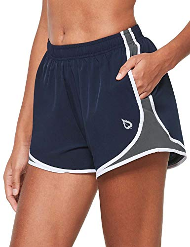 BALEAF Women's 3' Athletic Running Shorts Woven Quick-Dry Gym Shorts with Pockets & Liner Workout Sports Navy/Grey/White Large