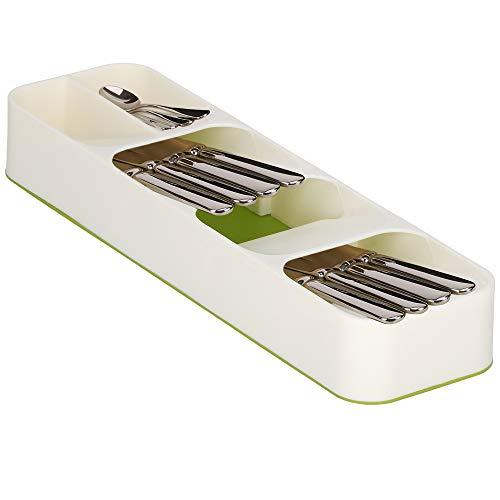 SPRINGOS Schubladeneinsatz mit 5 Fächer, Fächer mit Piktogrammen, aus Kunststoff, Besteckorganizer, praktische Trennung von Messer, Löffel und Gabel, Messerhalter, Besteckkasten (Creme)