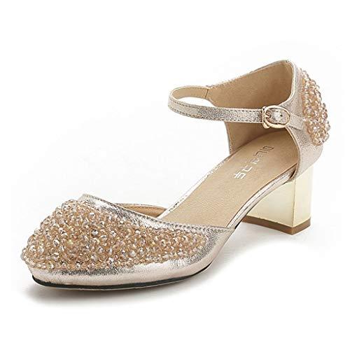 RHSMP Zapatos De Cristal con Cuentas De Diamantes De Imitación Zapatos De Boda Tacones Altos 5.5Cm Bombas Zapatos De Mujer Tacones Bajos Adecuado para Zapatos De Fiesta para Damas,1.0UK