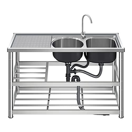 YJKDM Cocina Profesional con Fregadero Doble, Fregadero de Cocina de Dos Senos, con Dispositivo de Grifo, de pie, Grifo Giratorio de 360 ° Fregadero de Comedor Simple de 120x45x80cm