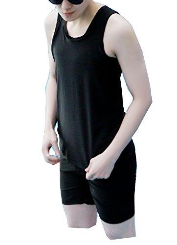 Super Flat Les Lesbian Compression Elastic Band Chest Binder Swimsuit Tank Trunk (Medium, Black)