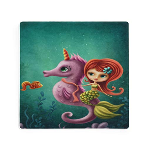 Olinyou Vintage Animal Mermaid Seahorse Fish Flower Magic Coaster for Drinks 1 Pieces Absorbent Moisture Absorbing Ceramic Stone Square Coaster with Cork Base