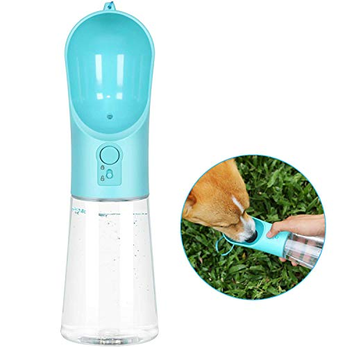 Dog Water Bottle Portable Pet Water Bottle Leak Proof Dog Water Dispenser, Lightweight Dog Travel Water Bottle Bowl for Walking BPA Free 15 OZ (Blue) …