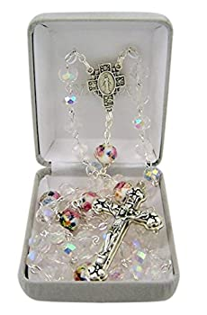 Catholic Flower Cut Clear Glass Prayer Bead Rosary Necklace with Heart Detailed Crucifix 27 Inch