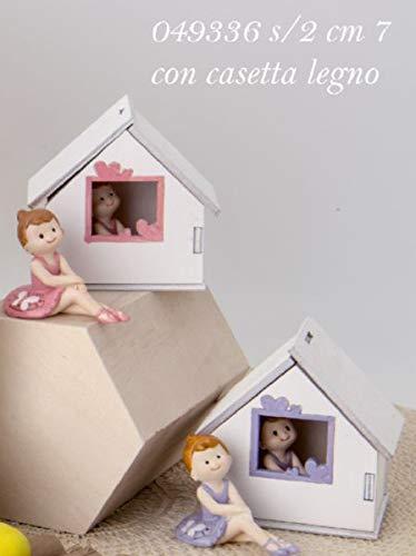 4 PEZZI Ballerina colorata resina in casa casetta di legno BOMBONIERA