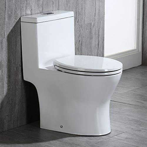 WOODBRIDGE B-0500 High One Piece Short Compact Bathroom Tiny Mini Commode Water Closet Dual Flush Concealed Trapway, B0500 Toilet, white