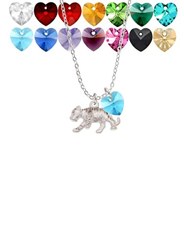 sophia gifts for a teenager boys Delight Jewelry Tiger Cub Custom Crystal Heart Sophia Necklace, 18