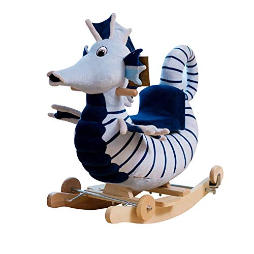 YUEZPKF Schön Schaukelstuhl Kinder Trojaner Rocking Horse Baby Spielzeug Schaukelstuhl Massivholz Dualuse Rollescheibe Giftl, 50kg Kapazität. (Color : A)