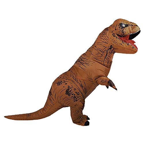 AODDING Inflatable Dinosaur Costume, Funny Jurassic Tyrannosaurus Inflatable Costume Fancy Dress Costume, for Adults Kids Halloween Cosplay Party Christmas Brown