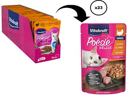 Vitakraft kattenvoering natte voering Poésie Deli- Sauce Pouch zak 23x85g, Putenborst, 23x 85g