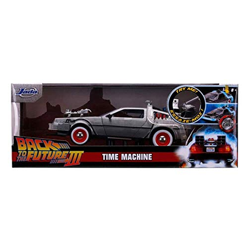 Back to The Future Part III 1:24 Time Machine Die-cast Car Light Up Feature, Toys for Kids and Adults
