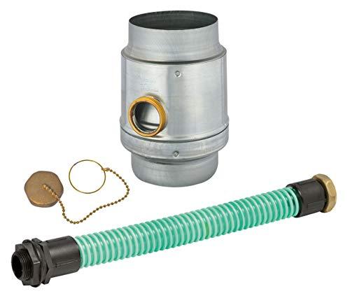 """Regenwassersammler-Set Titanzink, 3tlg, 100 mm Ø, Überlaufschutz, mit 1 1/4"""" Schlauch und Fassanschluß"""