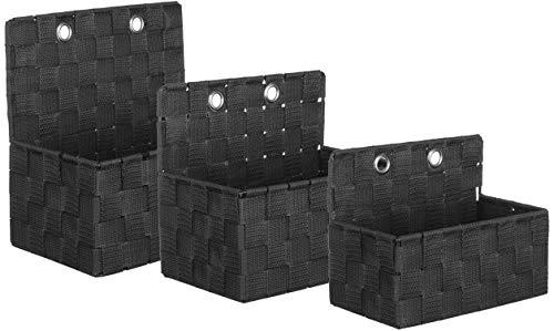 Brandsseller Aufbewahrungsbox Dekobox - zum Hängen oder Stellen - inkl. Metallhaken - Rattan/Flecht Optik - 3er Set
