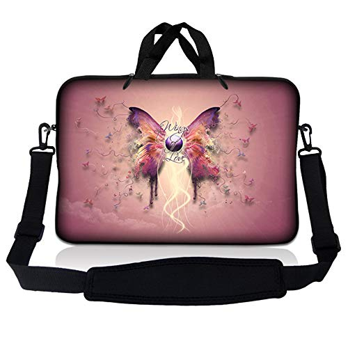 LSS 17 inch Laptop Sleeve Bag Carrying Case Pouch w/ Handle & Adjustable Shoulder Strap for 17.4' 17.3' 17' 16' Apple Macbook, GW, Acer, Asus, Dell, Hp, Sony, Toshiba, Pink Butterfly Floral