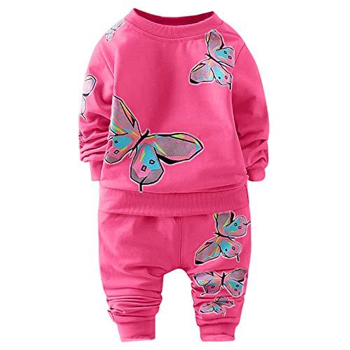 MRULIC Kleinkind Baby Jungen und Mädchen Insgesamt Langarm T-Shirt und Hose Trainingsanzug Bekleidungsset Outfits Schlafanzug mit Schmetterlingsdruck(Pink,80-90cm/M)