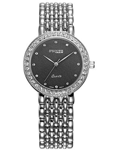 Alienwork Reloj Mujer Plata Pulsera de Metal Acero Negro Strass Ultra-Delgada