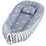 Baby Nest Sleeper, Baby Lounger Co-Sleeper Baby Bassinet for Bed, Newborn Lounger 100% Soft Cotton Breathable and Portable Crib with Pillow Perfect for Traveling and Napping