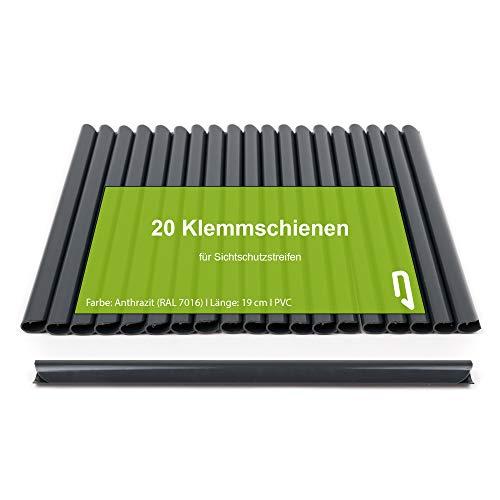TerraUno - Klemmschienen für Premium Sichtschutzstreifen - 20 Stück Anthrazit I Befestigungsclips I PVC