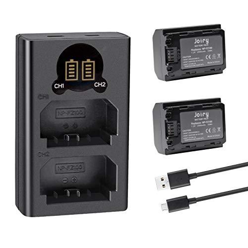 2 X NP-FZ100 Batteria di Ricambio e Doppio caricatore Compatibile con Sony A9 A9R A9S, Alpha9 9R 9S, sony a7iii Batteria A7RIII A7R3 Digital Camera