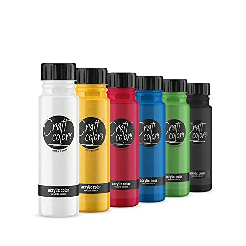 Craft colors® hochwertige Acrylfarbe -Set (6 x 250 ml) | deckende Malfarbe | Made in Germany | geeignet für Acryl Pouring | schnell trocknend | hohe Pigmentierung
