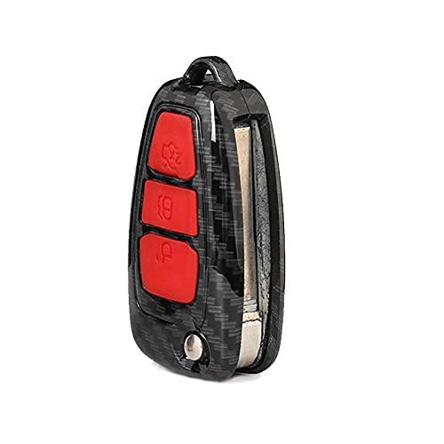 BENBENHU Cubierta de la Caja de la Llave del Coche Protector Keybag Titular de la Llave, para Ford Focus Mk3 Mondeo Fiesta Kuga Ecosport Escape Ranger Rojo