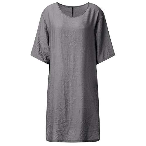 Sonojie Damenmode Einfach Solide Einfach Lose Sommer Casual Oansatz Solide Kurzarm Seitenschlitz Maxi Tägliches Kleid Strandkleid