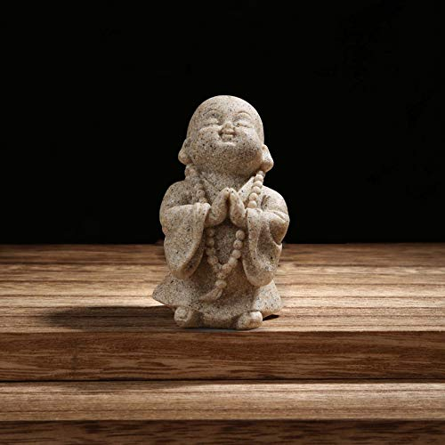Carefree Fish Buddha Statue Minimalist Sandstone Buda Ornament Monk Figurine Zen Decor Bring Home a Ray of Sunshine