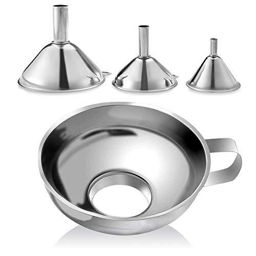 Tyelany Embudo Acero Inoxidable Set de Embudos de Cocina Embudo de Cocina Mini con una Hebilla Colgante se Puede Apilar para la Transferencia de Líquido Polvo Gránulos etc (Plata 4 Tallas 4 Piezas)