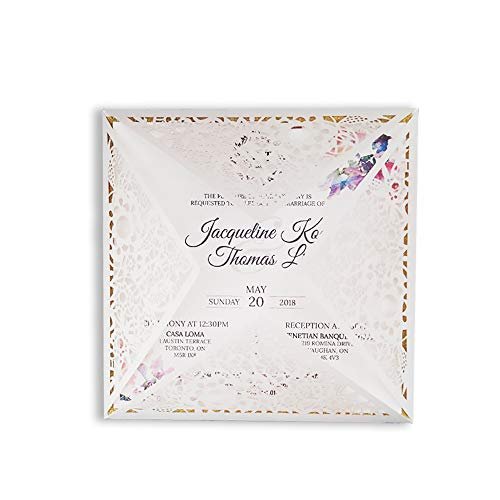 50 Packungen Rustikales Hochzeitseinladungs-Kit 160 * 160 Design Lasergeschnittene personalisierte Druckkarten Einladungen mit RSVP-Karten und Umschlägen