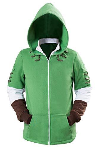 Hibuyer Men's Link Hyrule Zip up Hoodie Sweatshirt Adult Cosplay Costume Jacket Green Unisex (X-Large, Green)