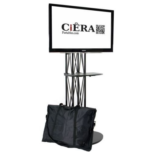 Ciera EZ Fold All-in-One Portable TV Stand with Shelf. Works with 28-70 Inch TV's - Black