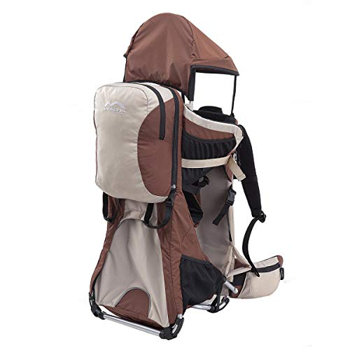 Montis Ranger Pro Kraxe Kindertrage mit Allen Extras bis 25kg Gewicht - für beide Elternteile inkl. Sonnen- & Regendach, Fußrasten, Regenschutz & Wickelmatte - Baby Carrier Gesamtpaket, Sand