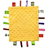 Baby Soft Touch Comforter Blanket with Tags, Taggie Comforter, Comfort Security Blanket Gift for Toddler Child Kids, Baby Soft Minky Dot Blanket, Baby Unisex Baby Plush Mink Blanket, Yellow
