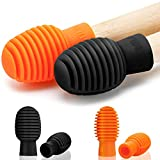 4 Pieces Drum Mute Drum Dampener Silicone Drumstick Silent Practice Tips Percussion Accessory Mute Replacement Musical Instruments Accessory (Orange and Black)
