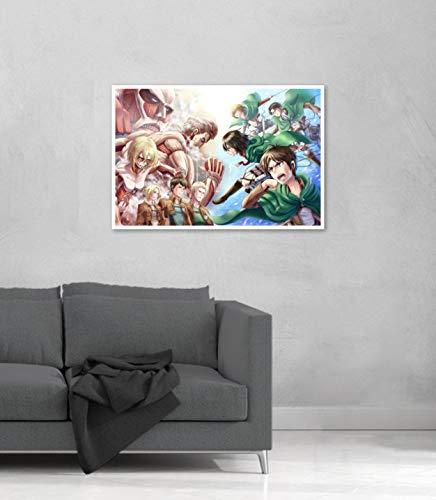 Quadro Decorativo Shingeki no Kyojin Ataque dos Titãs 60x40cm (60x40, Moldura Branca)