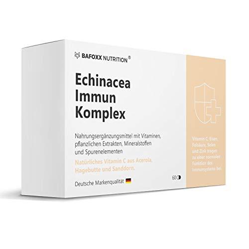 BAFOXX Nutrition® Echinacea Immunsystem Komplex hochdosiert - Einführungspreis - Mit 21 abgestimmten Pflanzen- und Mikronährstoffen - Multivitamin - vegan und ohne Zusatzstoffe - 60 Kapseln