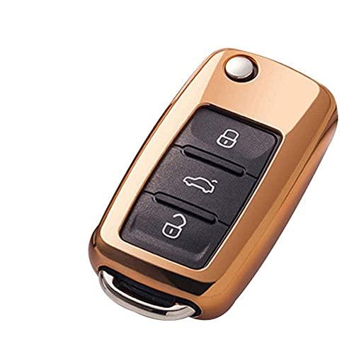 Wdszb Funda para Llave de Coche, para VW Golf Bora Jetta Polo Golf Passat, para Skoda Octavia A5 Fabia, para Seat Ibiza Leon Negro
