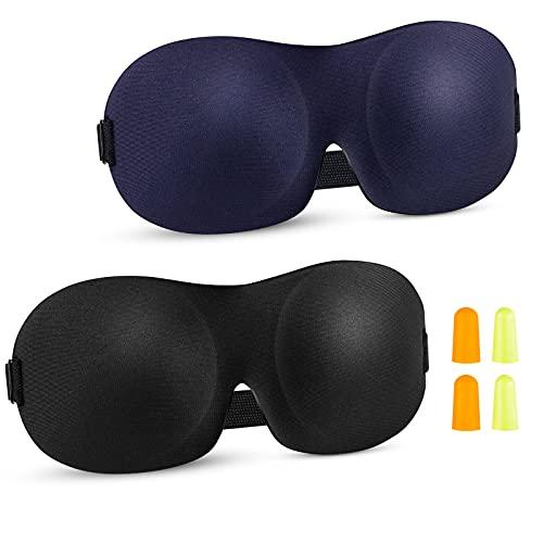 2 Pack Augenmaske Schlafmaske - 3D Damen und Herren Schlaf Augenmaske, Memory Foam weiche Schlafmaske, 100{7fba6a34afe63fd8067af210a7d856342fc7309107a4e44ad5d4a82c3c33ec8a} Blackout Augenmaske mit verstellbaren Schultergurten und Ohrstöpseln (Schwarz und Blau)