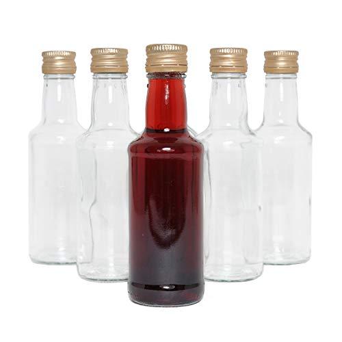 Glasflaschen zum Set 6 x 200ml (0,2L) Likörflaschen Flaschen mit Schraubverschluss, Schraubdeckel,befüllen, klein, Gold, Schnäpse, TOP Qualität, Saft, Milch, Essig, Öl, Bier oder Likör Flasche