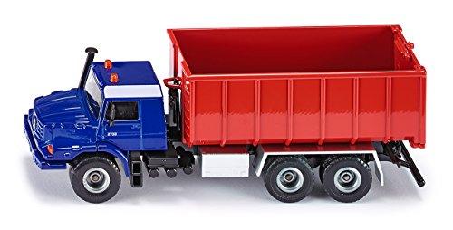 SIKU 3546 - Camion Benne Mercedes-Benz Actros avec Benne Déroulante, 1:50, Bleu/Rouge, Métal/Plastique