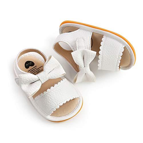 Toddler Newborn Baby Girl Sandalen Prewalker Schuhe Bowknot Prinzessin PU Leder Sport Casual Prime Laufschuhe, Weiß 6-12 Monate