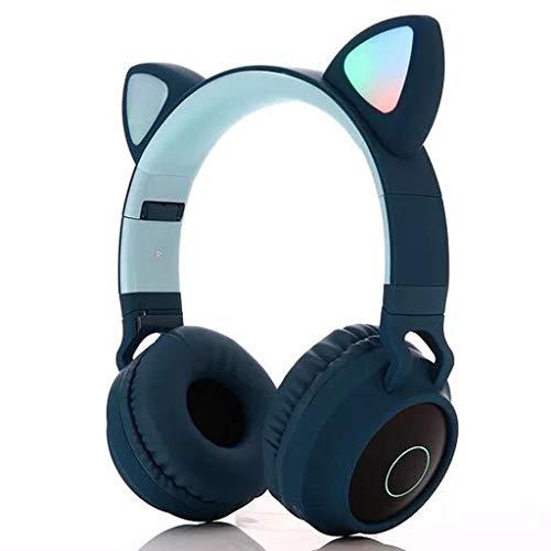Kabellose Bluetooth-Kopfhörer, Wireless 5.0 Bluetooth Kopfhörer Over-Ear, Katze Ohr-Kopfhörer, LED-Blinklichter, Stereo Sound, Langlebige Batterie, für Mädchen Frauen (Blau)