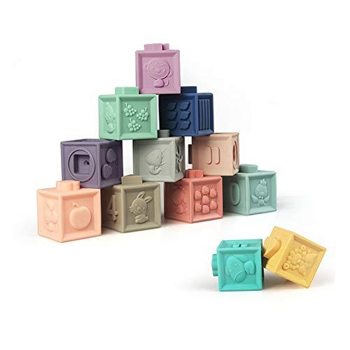 Juego de bloques de apilamiento Squeeze para bebés, juguetes suaves para niños sin BPA, juego de baño para bebé con números, formas, animales, paquete de 12