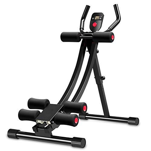 uyoyous Aparato de abdominales plegable, máquina de abdominales con pantalla LCD para entrenamiento abdominal en casa, cintura y piernas finas, color negro
