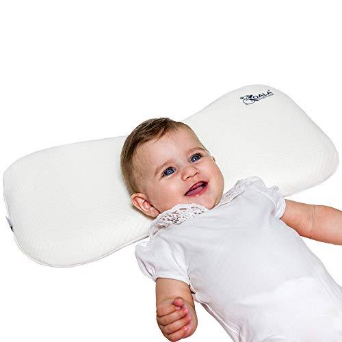 Almohada para bebés hasta los 36 meses para ayudar a prevenir y tratar la plagiocefalia,de funda extraíble (con dos fundas), hecha de Memory Foam, espuma viscoelastica - Blanco